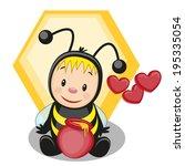 cartoon bee with a barrel of... | Shutterstock .eps vector #195335054