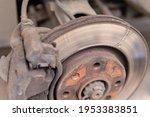 Heavily Worn Brake Disc. Car...