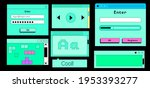 set of flat retrowave ui and ux ...