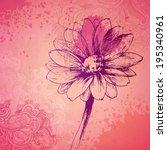 vector ornamental daisy flower... | Shutterstock .eps vector #195340961