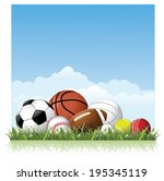 sports balls in the grass. eps... | Shutterstock .eps vector #195345119