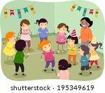 illustration of kids playing... | Shutterstock .eps vector #195349619