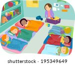 illustration of preschoolers... | Shutterstock .eps vector #195349649