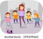 illustration of kids in a... | Shutterstock .eps vector #195349661