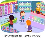 illustration of kids checking... | Shutterstock .eps vector #195349709