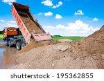 dumper truck unloading soil or... | Shutterstock . vector #195362855