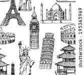 sketch eiffel tower  pisa tower ... | Shutterstock .eps vector #195365969