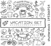vacation doodle icons... | Shutterstock .eps vector #195366914