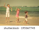 happy children playing at the... | Shutterstock . vector #195367745