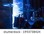 Drum Set And Cymbal On A Stage...
