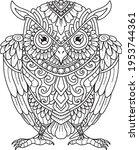 owl mandala decorative design.... | Shutterstock .eps vector #1953744361
