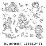 big set of mermaids with...   Shutterstock .eps vector #1953819481