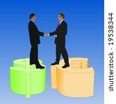 business men meeting on dollar... | Shutterstock . vector #19538344