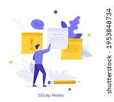 man attaching paper sticky...   Shutterstock .eps vector #1953848734