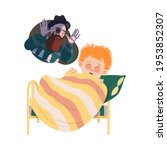 little awaken boy afraid of... | Shutterstock .eps vector #1953852307
