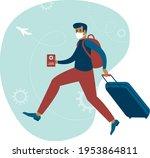 happy man traveller with...   Shutterstock .eps vector #1953864811
