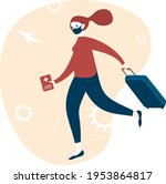 happy woman traveller with...   Shutterstock .eps vector #1953864817