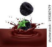 Raster version. Appetizing blackberries dipping into chocolate with splashes - stock photo