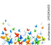 colored butterflies flying on... | Shutterstock . vector #195393455