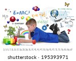 a young boy is reading a school ... | Shutterstock . vector #195393971