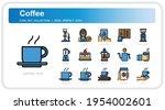 coffee icons set. ui pixel...