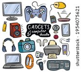 different computer gadgets.... | Shutterstock .eps vector #1954075621