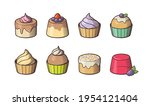 set of 8 cakes. sweet tasty... | Shutterstock .eps vector #1954121404