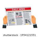 man's hands holding newspaper... | Shutterstock .eps vector #1954121551