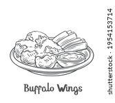 buffalo wings outline vector...   Shutterstock .eps vector #1954153714