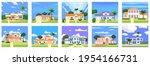 set residential home buildings... | Shutterstock .eps vector #1954166731