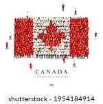 a large group of people are... | Shutterstock .eps vector #1954184914