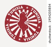 tunisia stamp. travel red... | Shutterstock .eps vector #1954205854