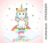 cute magical unicorn with... | Shutterstock .eps vector #1954206604