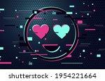 love icon. glitch style vector... | Shutterstock .eps vector #1954221664