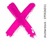 x   pink handwritten letters on ... | Shutterstock .eps vector #195426011