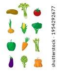 Vegetable Set On White...