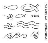 hand drawn set christian icons... | Shutterstock .eps vector #1954305547