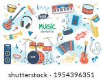 Music concept isolated elements set. Bundle of song creation and recording, guitar, drums, keyboards, saxophone, microphone, headphones, musical instruments. Vector illustration in flat cartoon design