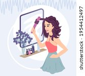 woman curling hair  styling ...   Shutterstock .eps vector #1954412497