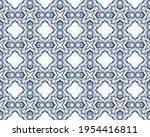 blue ornate mosaic batik. white ... | Shutterstock . vector #1954416811