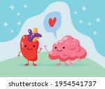 comic heart and brain lovely   Shutterstock .eps vector #1954541737