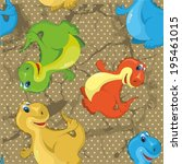 pattern with colorful dinosaurs.... | Shutterstock .eps vector #195461015