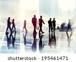 silhouettes of business people... | Shutterstock . vector #195461471