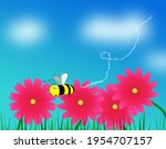 Four Pink Flowers And A Bee