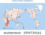 early human migrations. map of...   Shutterstock .eps vector #1954724161