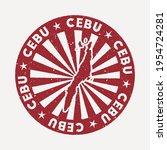 cebu stamp. travel red rubber... | Shutterstock .eps vector #1954724281
