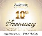 10 year anniversary golden... | Shutterstock .eps vector #195475565