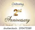 2 year anniversary golden label, 2nd anniversary decorative golden emblem - vector illustration