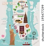 cartoon map of new york city | Shutterstock .eps vector #195477299