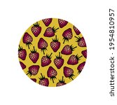 strawberry logo in a yellow... | Shutterstock .eps vector #1954810957
